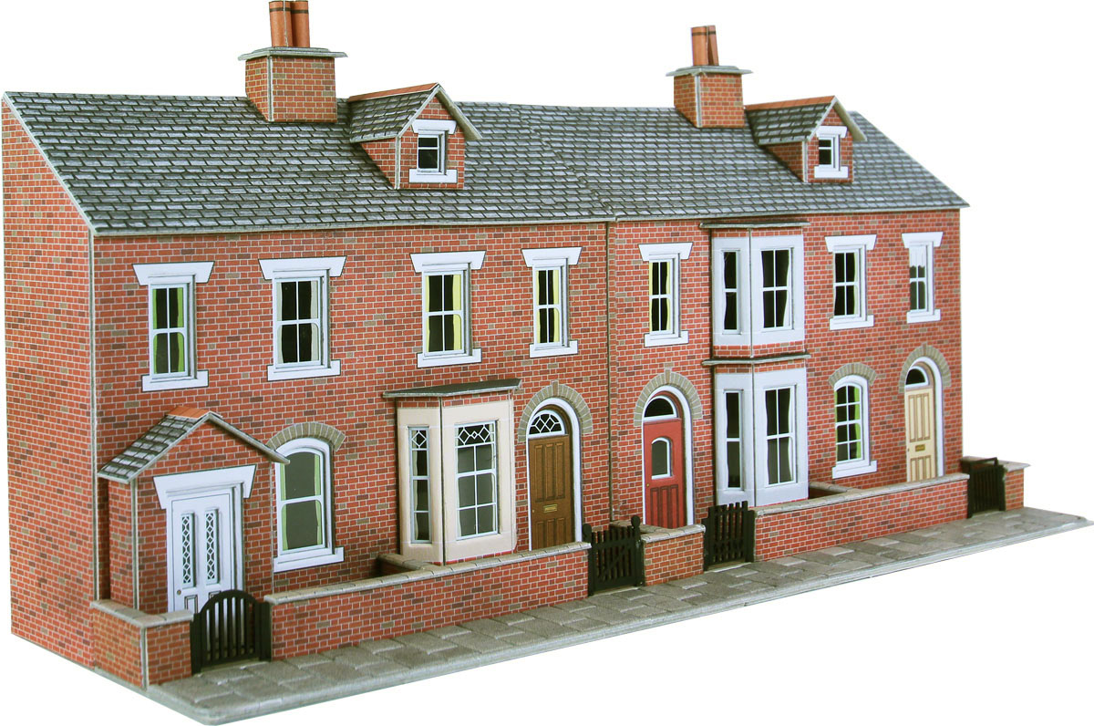 Po274 00 h0 scale low relief red brick terraced house for Terrace of the house