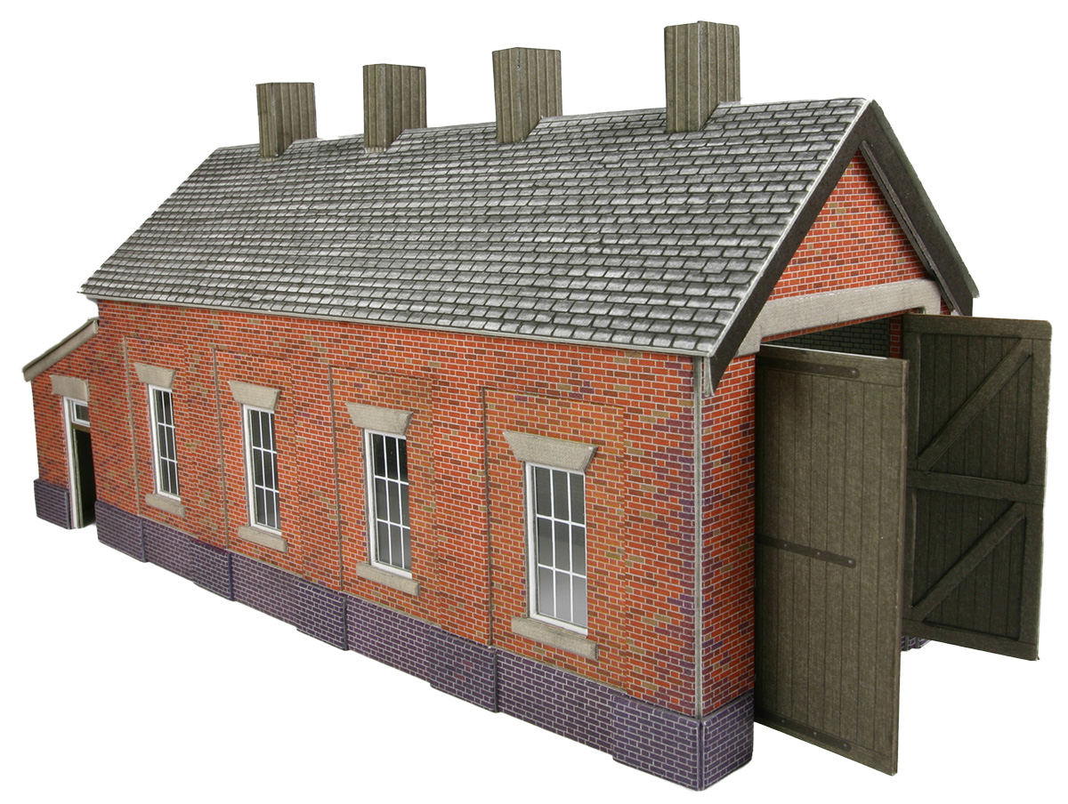 Po331 00 h0 red brick single track engine shed for Brick kit homes