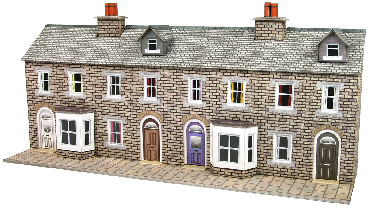 N Scale Low Relief Stone Terraced House Fronts